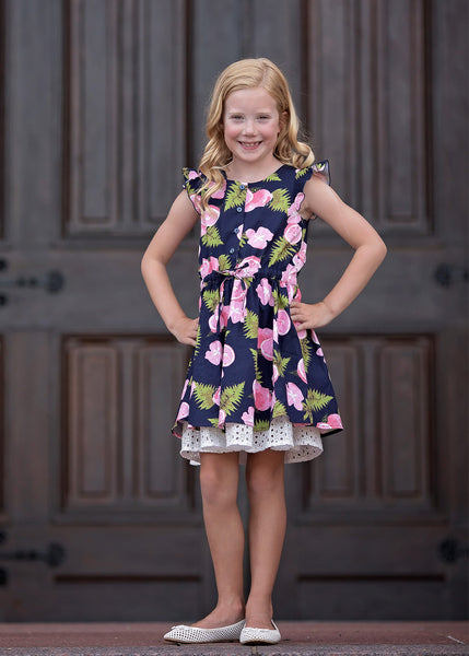 Girl's Pink Lemonade Button Twirl Dress,Dresses,Mabel + Honey-The Little Clothing Company