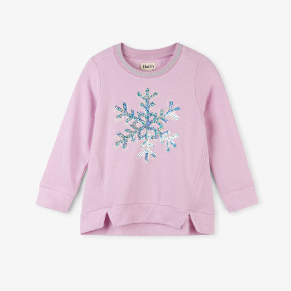 girl pink sequin snowflake sweater