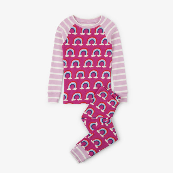 girl pink rainbow clouds pink stripe pajamas