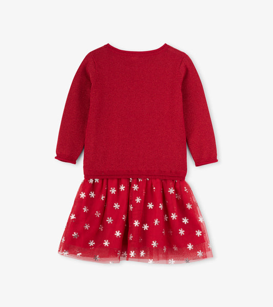 Girl's Red Metallic Snowflake Tulle Dress - 4T,Dresses,Hatley-The Little Clothing Company