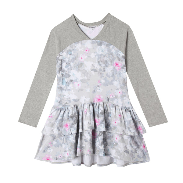 Ellie Girl Pastel Flower Long Sleeve Ruffle Dress