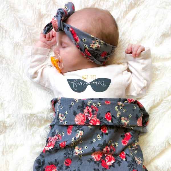 Baby Headband & Swaddle Set - Gray Floral
