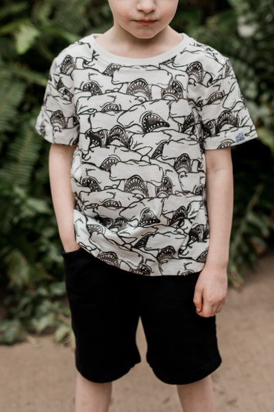 Hammerhead Shark Abstract Print Short Sleeve Tee,Shirts,Art & Eden-The Little Clothing Company