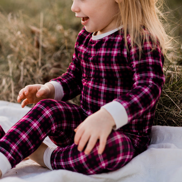 Bamboo Girl's Cranberry Plaid 2-Piece Pajamas,Pajamas,Sweet Bamboo-The Little Clothing Company