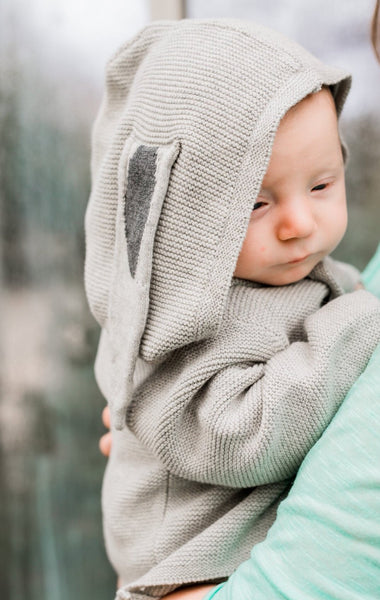 Some Bunny Loves You Baby Organic Cotton Sweater,,Earth Baby-The Little Clothing Company