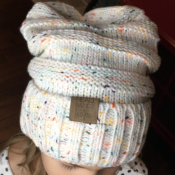 Knit Slouchy Confetti Beanie - Two Colors