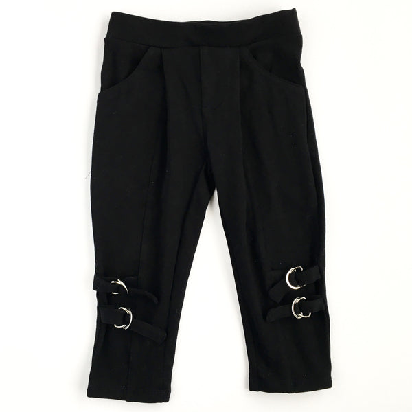 girls black cropped legging organic cotton stretch buckles on lower leg