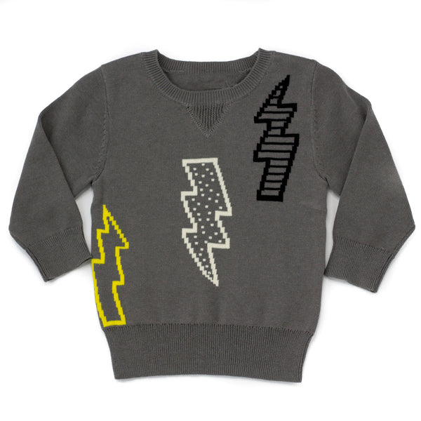 Lightening Bolt Gray Baby Organic Cotton Sweater - 18/24 months,Shirts,Earth Baby-The Little Clothing Company