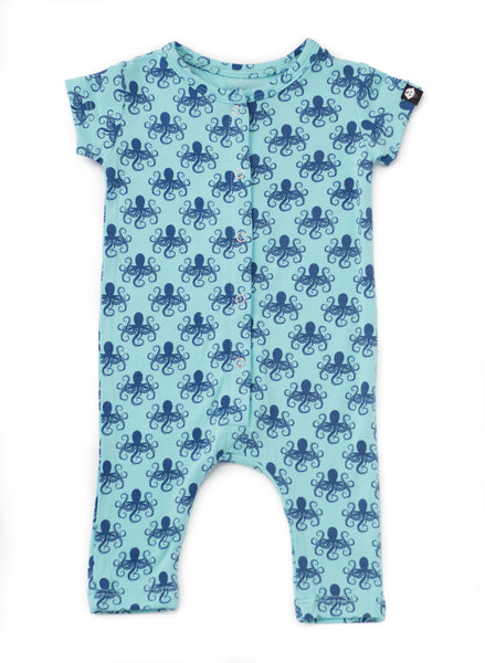 Bamboo Baby Blue Octopus Print Short Romper