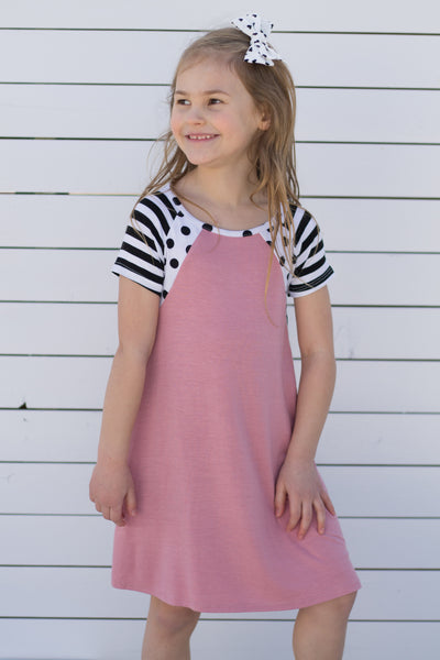 Pink Dress with Black & White Polka Dots