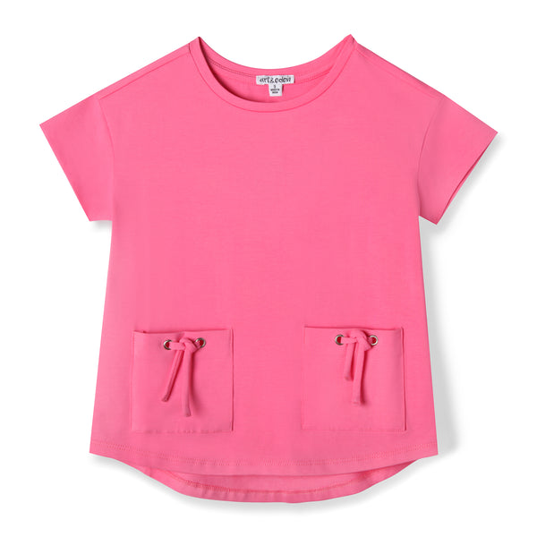 Pink Front Pocket Organic Cotton Tee,Shirts,Art & Eden-The Little Clothing Company