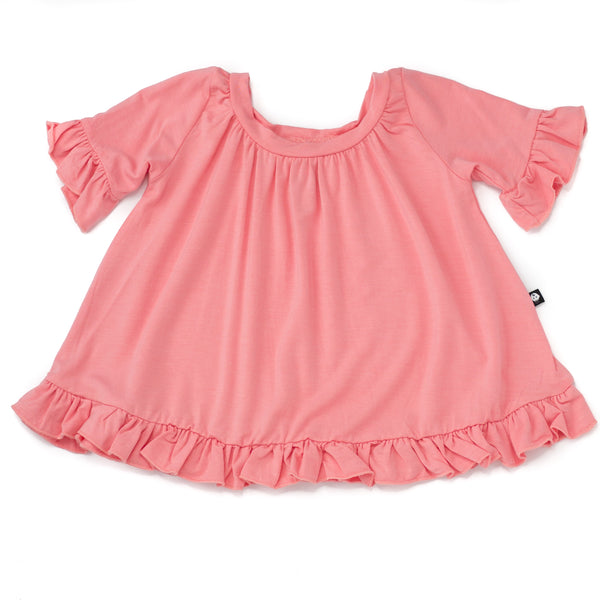 Bamboo Girl Pink Ruffle Sleeve Smock Peplum Top,Shirts,Sweet Bamboo-The Little Clothing Company