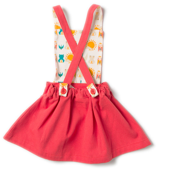 Red Pinafore Girls Organic Cotton Dress,Dresses,Little Green Radicals-The Little Clothing Company
