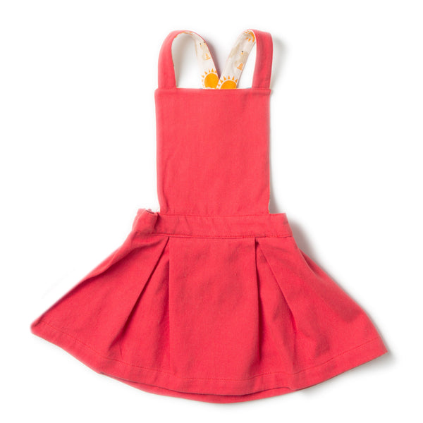 Red Pinafore Girls Organic Cotton Dress