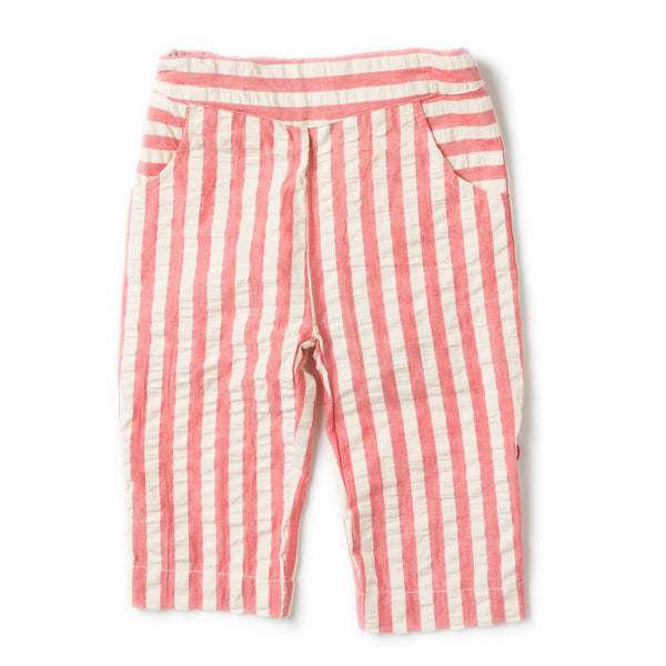 Pink Stripe Girl Seersucker Organic Cotton Beach Shorts