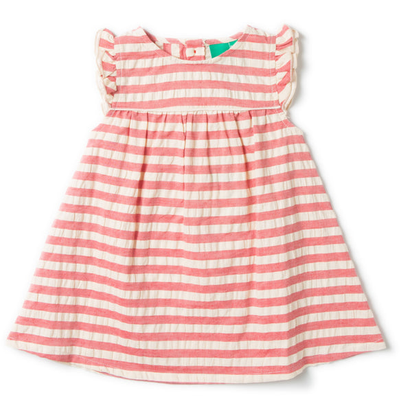 Baby & Girl Pink Stripe Seersucker Organic Cotton Flutter Sleeve Dress
