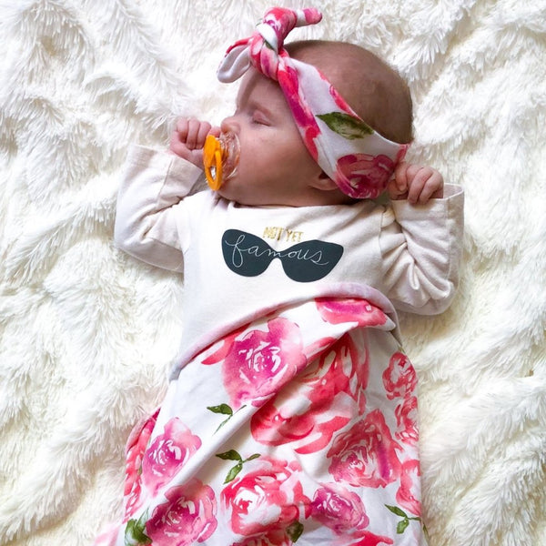 Baby Headband & Swaddle Set - Pink Rose