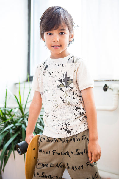 California to New York Script Boys Organic Cotton Shorts,Bottoms,Art & Eden-The Little Clothing Company