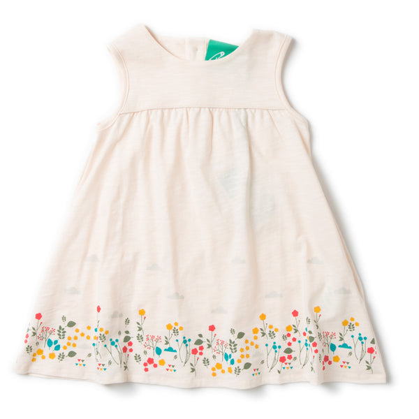 Storytime Floral & Clouds Girl Organic Cotton Tank Dress