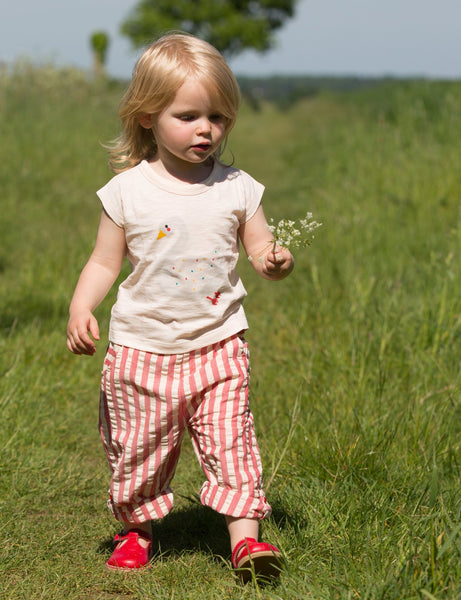 Pink Stripe Girl Seersucker Organic Cotton Beach Shorts,Bottoms,Little Green Radicals-The Little Clothing Company