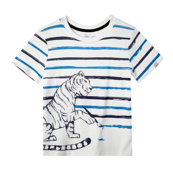Painting Stripes Tiger Baby & Boy Short Sleeve Tee,Shirts,Art & Eden-The Little Clothing Company