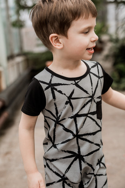 Bamboo Baby and Boy Black/Gray Triangle Pocket Romper,Romper,Earth Baby-The Little Clothing Company