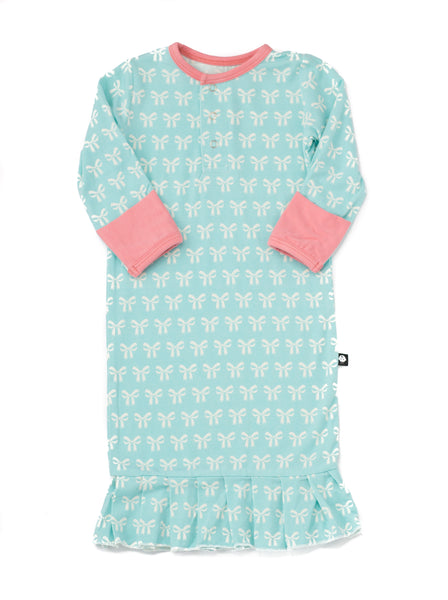 Bamboo Baby Aqua Bow Print Gown - 0/3 months,Sleepers,Sweet Bamboo-The Little Clothing Company