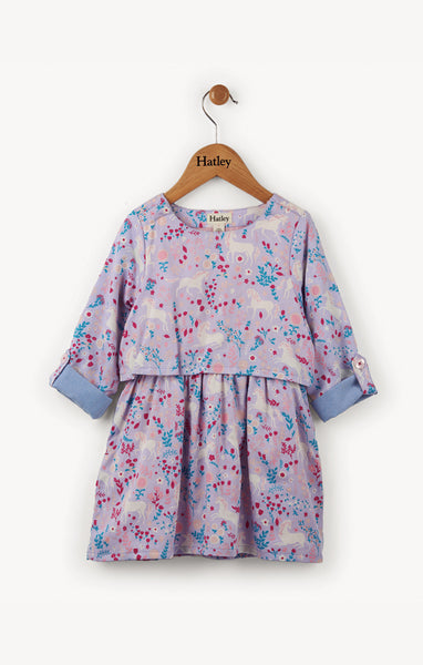 Unicorns in the Garden Purple Long Sleeve Dress,Dresses,Hatley-The Little Clothing Company