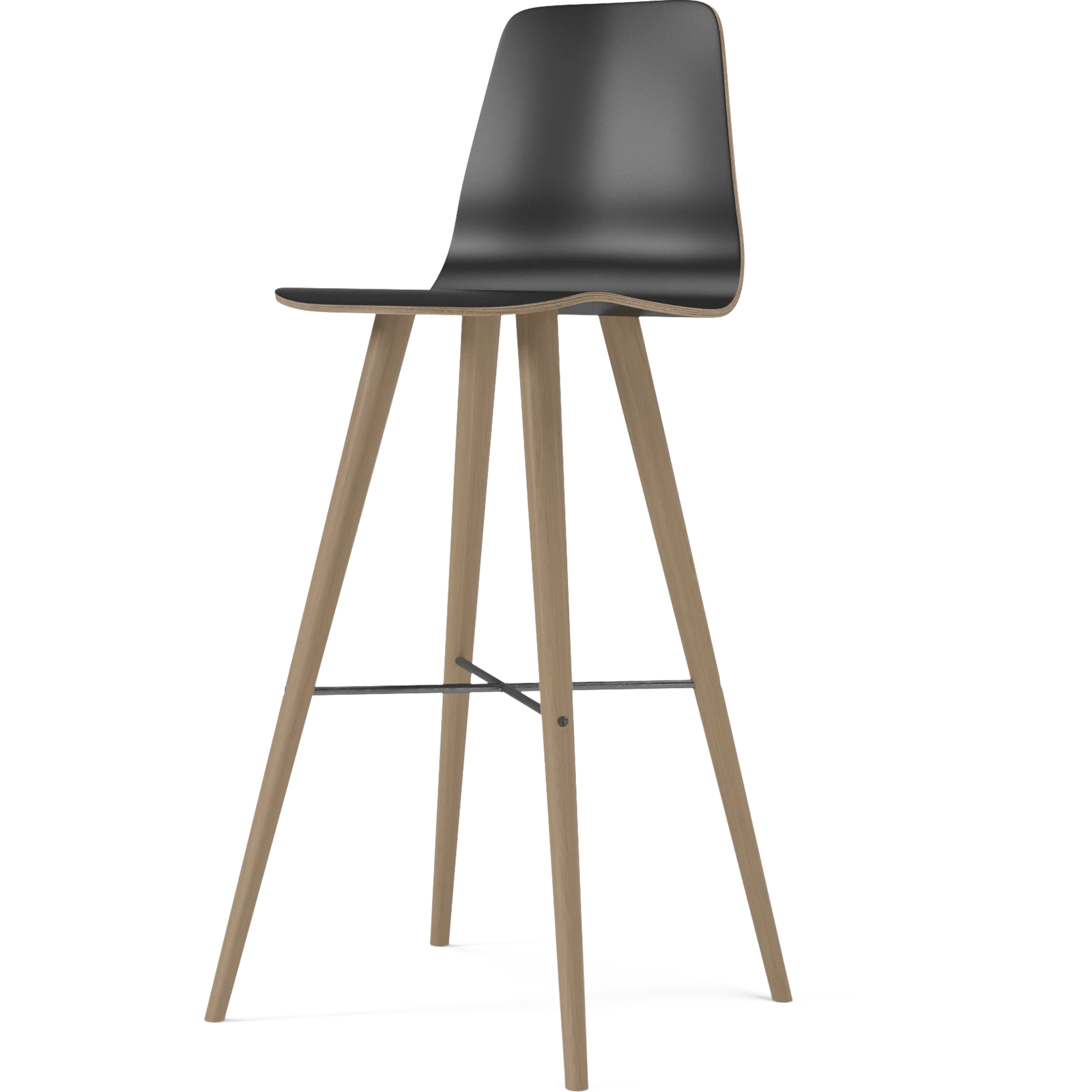 Bolia Furniture Black Laminate / White Oiled Oak Beaver High Barstool