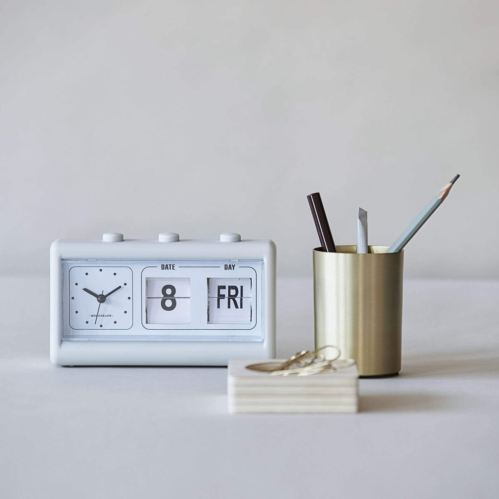 Monograph Office Supplies Blue Retro Clock