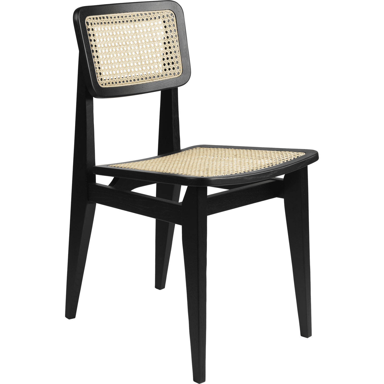 Gubi Furniture Matte Lacquered Black Stained Oak C-Chair French Cane Dining Chair