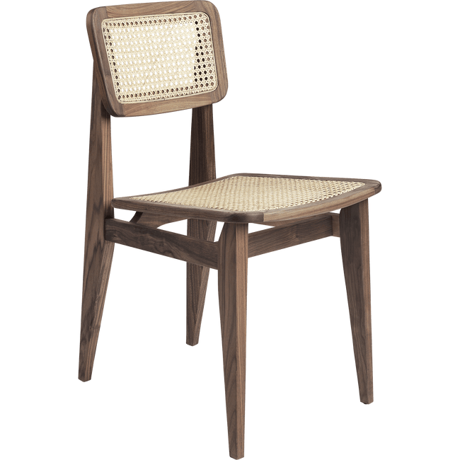 Gubi Furniture Oiled American Walnut C-Chair French Cane Dining Chair