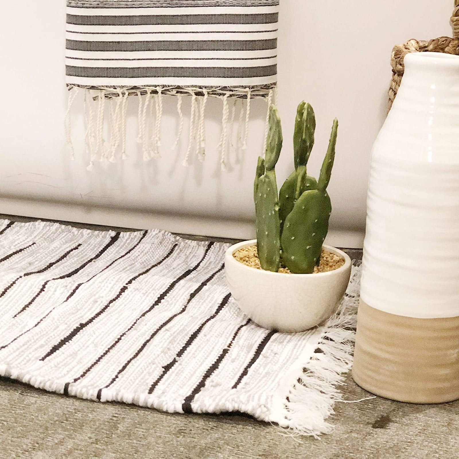 Scents and Feel Bath Cotton Chine Stripes Bathrug