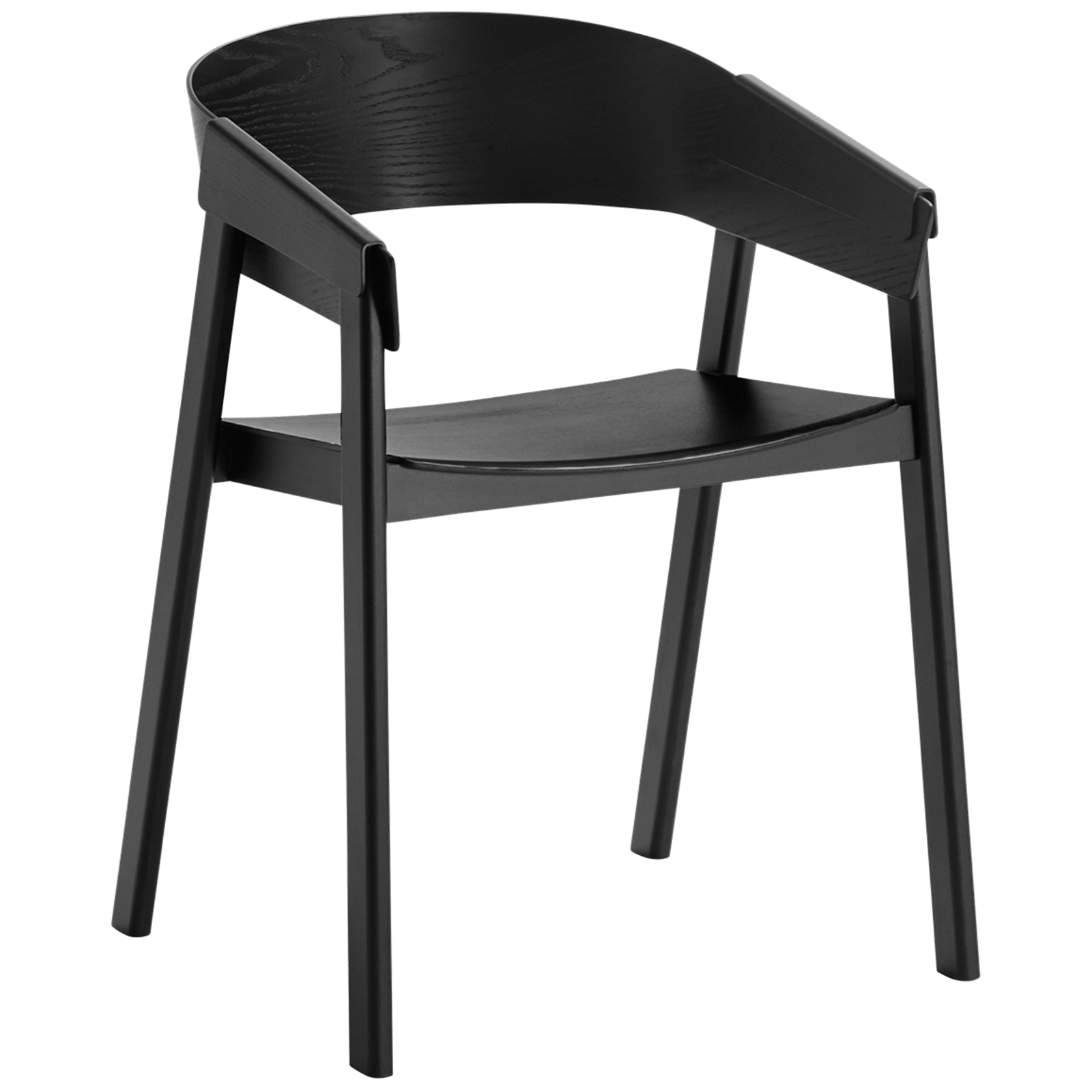Muuto Furniture Black Cover Chair - Wood Seat