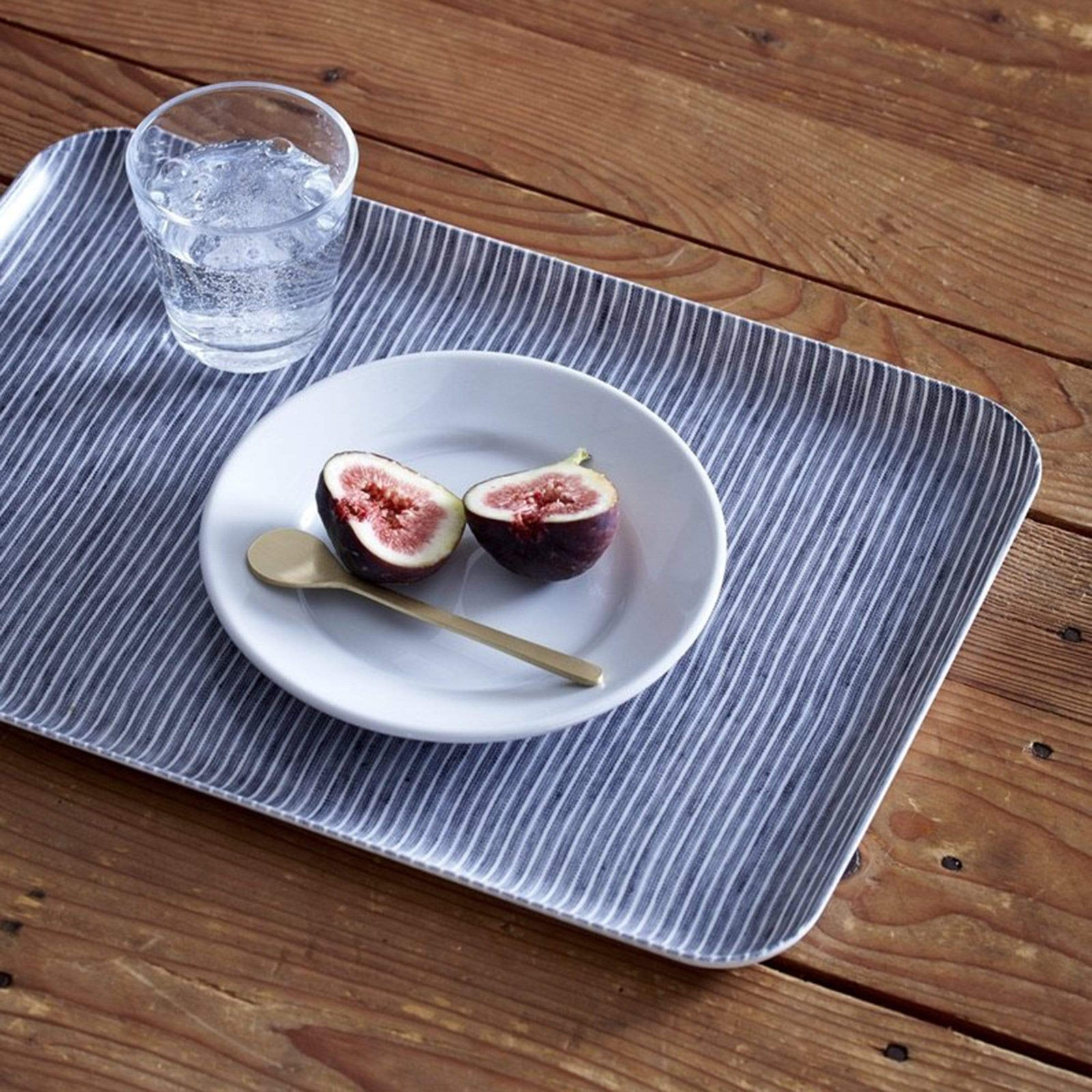 Fog Linen Work Kitchenware Grey + White Stripe Linen Tray, Large