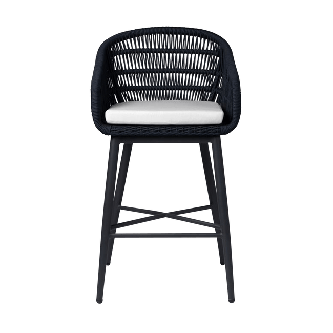 Made Goods Furniture Dark Navy Rope/Charcoal Frame Jolie Bar Stool