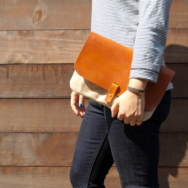 1.61 Soft Goods Purse Leather and Waxed Canvas Clutch