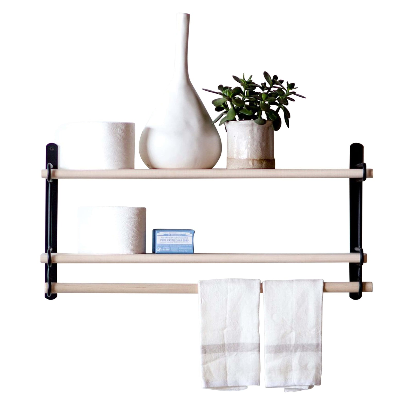 Lostine Wall Decor Matte Black Logan Wall Rack, Double