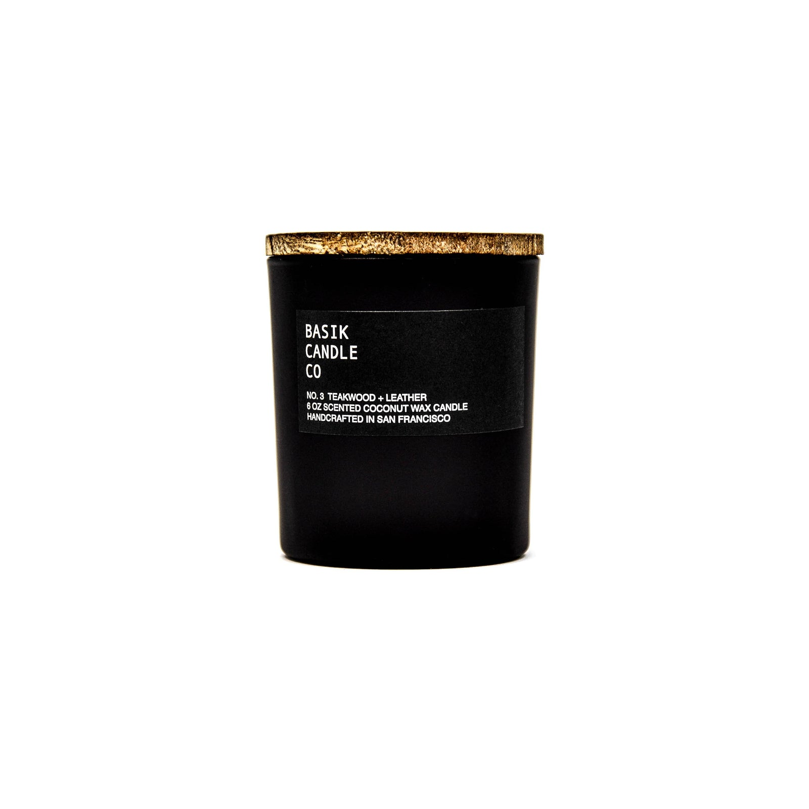 Basik Candle Co Candle No. 3 Teakwood + Leather 6 oz candle