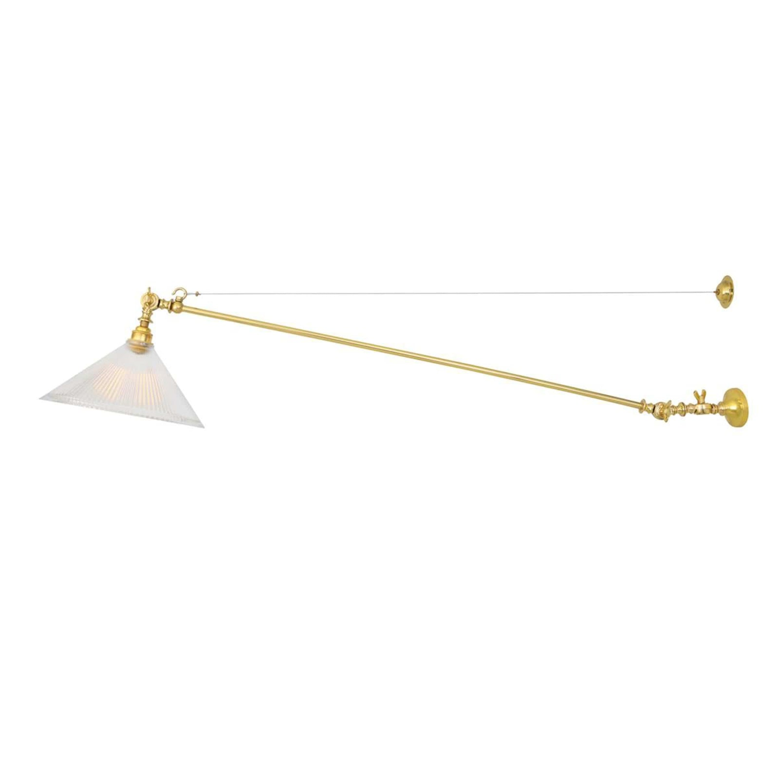 Mullan Lighting Lighting Polished Brass Nyx Adjustable Coolie Glass Wall Light