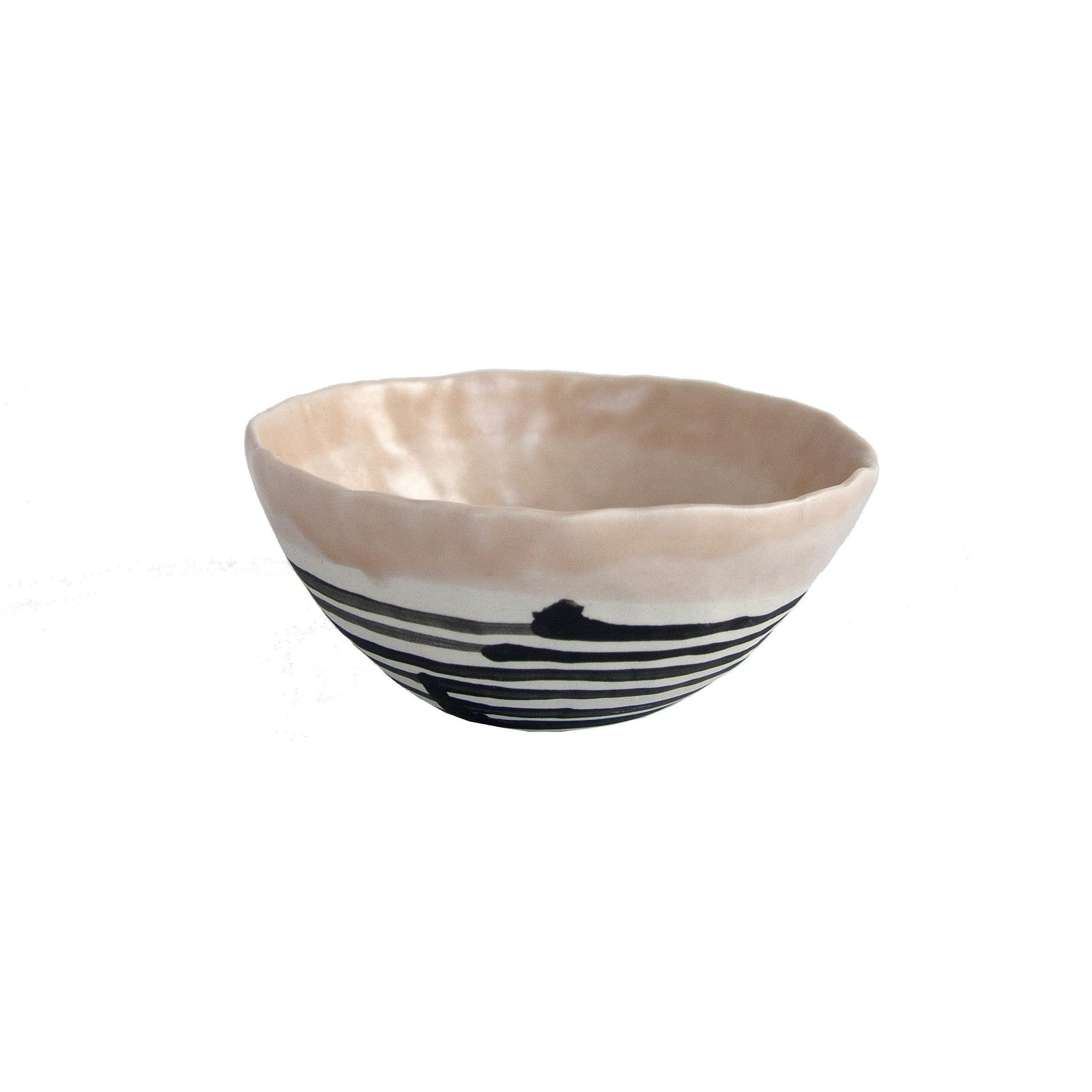 Elizabeth Benotti Handmade Ceramics Pottery Peach Pinched Striped Bowl, Medium