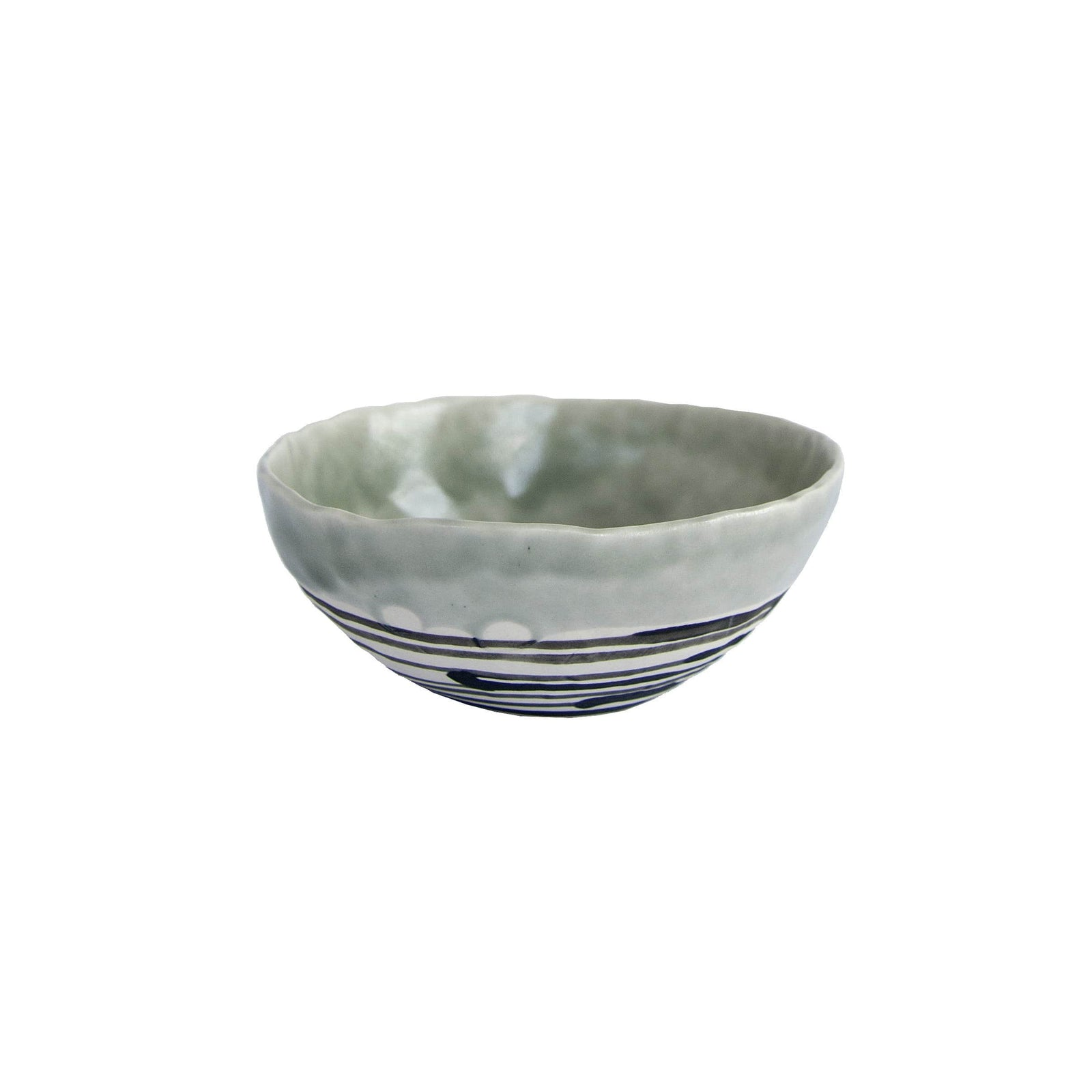 Elizabeth Benotti Handmade Ceramics Pottery Sage Pinched Striped Bowl, Medium