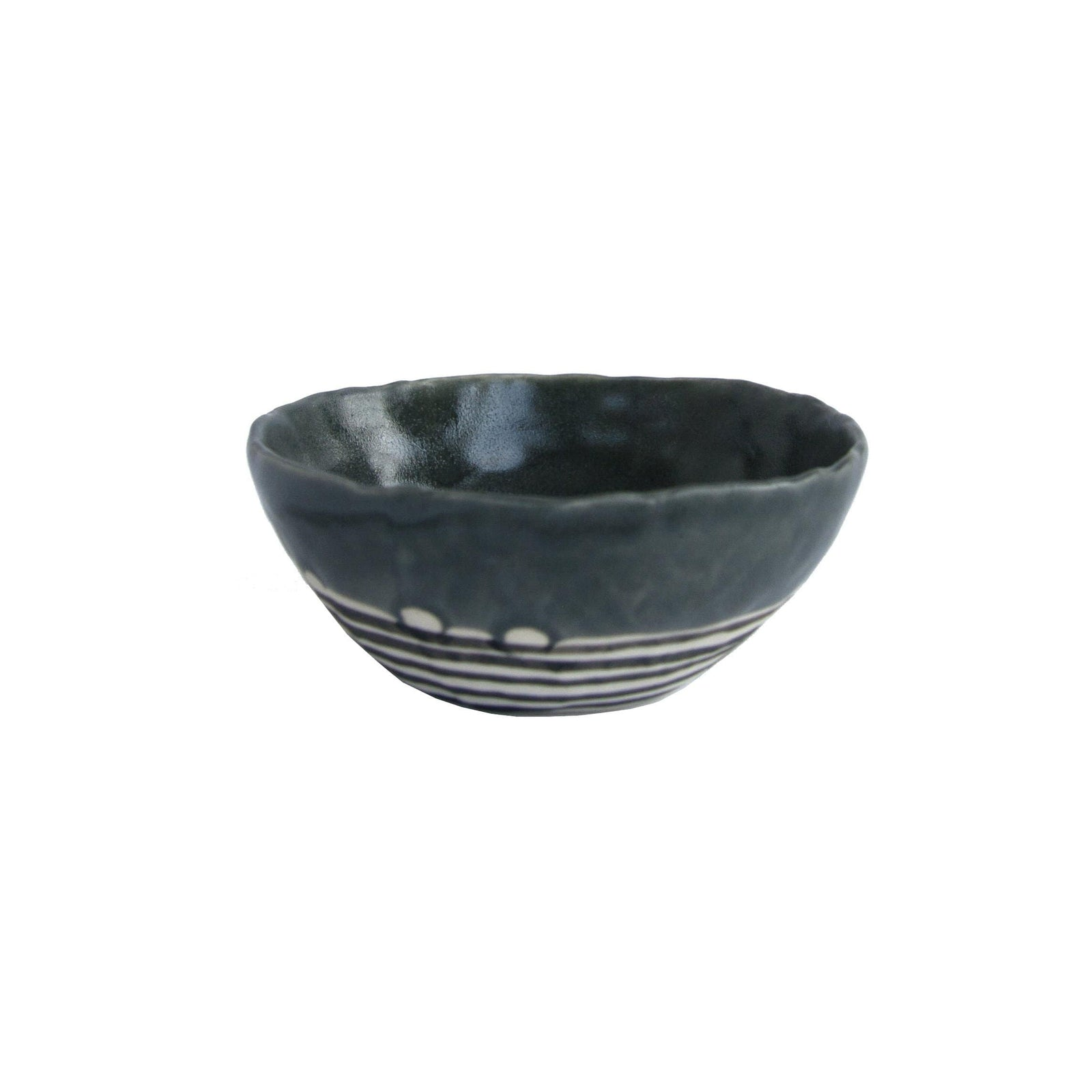 Elizabeth Benotti Handmade Ceramics Pottery Storm Gray Pinched Striped Bowl, Medium