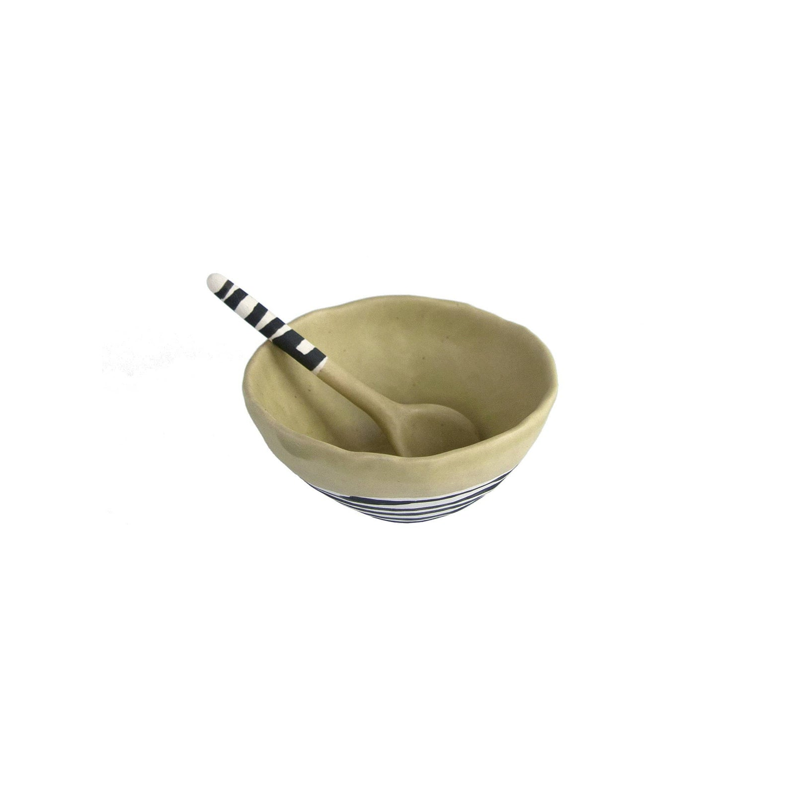 Elizabeth Benotti Handmade Ceramics Pottery Olive Pinched Striped Bowl w/ Spoon, Small