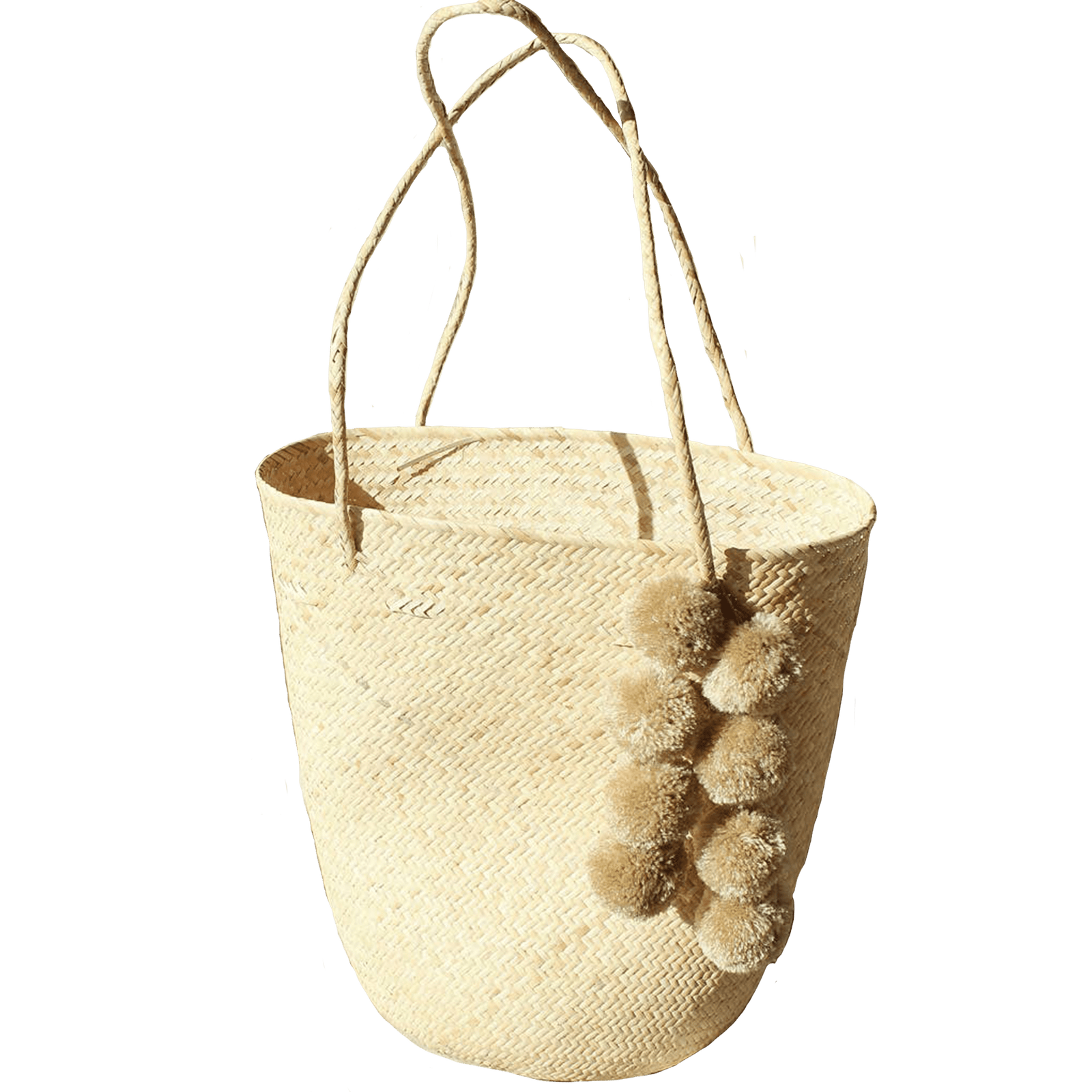 Brunna Co Clothing Serena Straw Bag with Beige Pom-poms