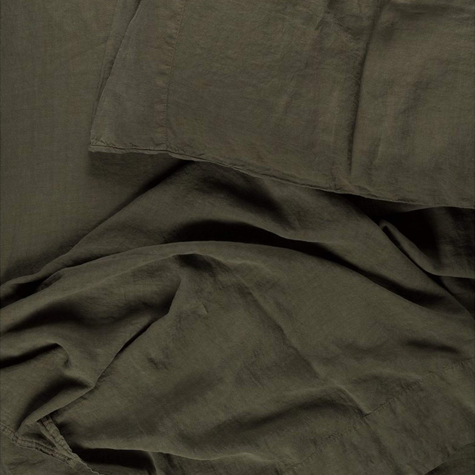 Hawkins New York Bedding Queen / Olive Simple Linen Fitted Sheet