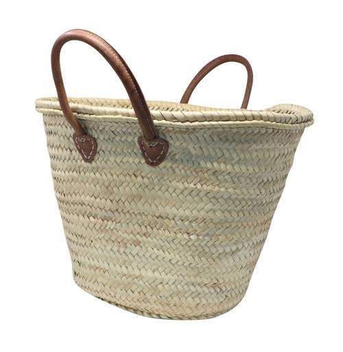 LAR LIVING Straw Bag with Leather Handles - Large