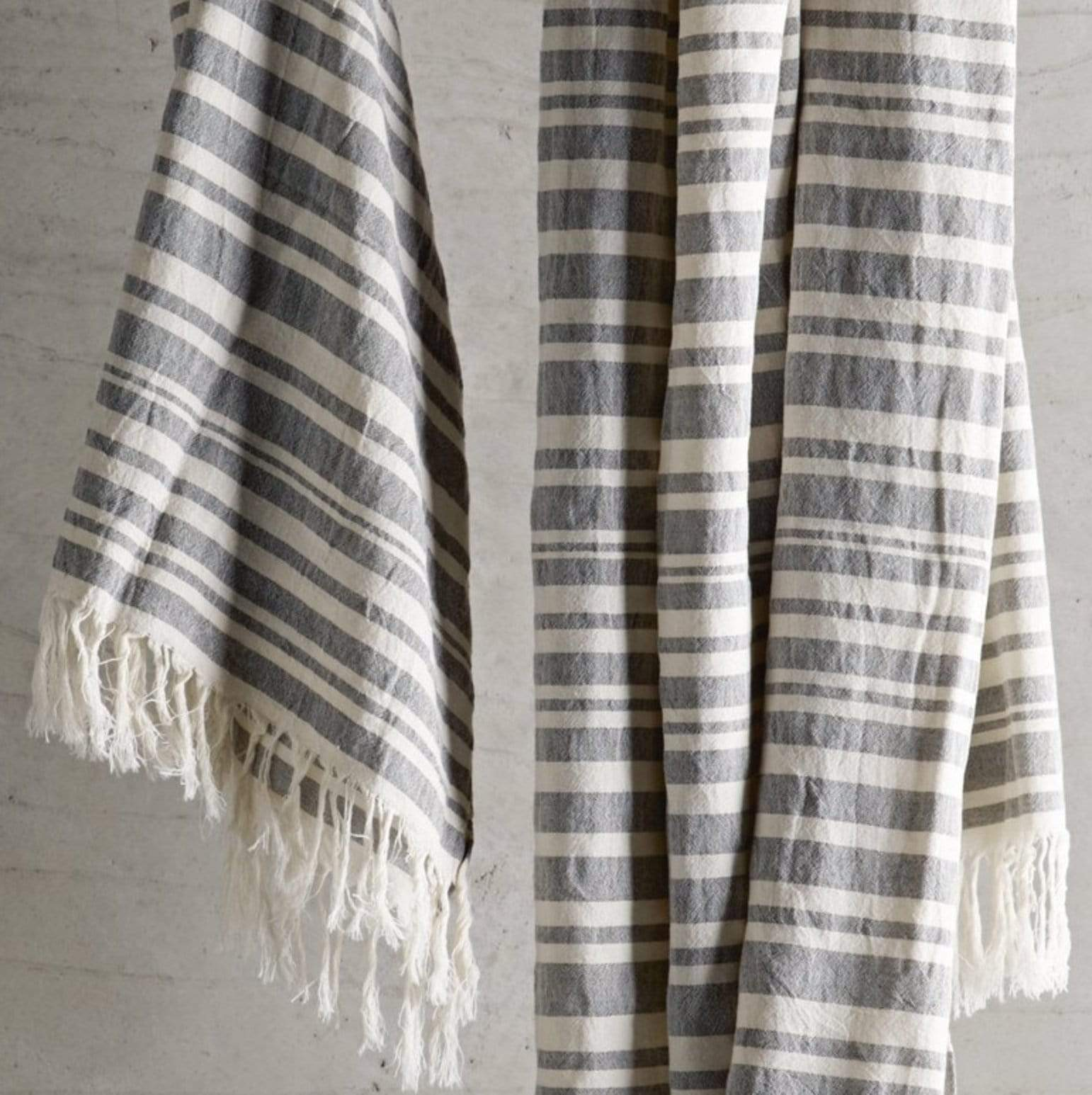 Tine K Home Bath Striped Towel with Fringe - Black and Ecru