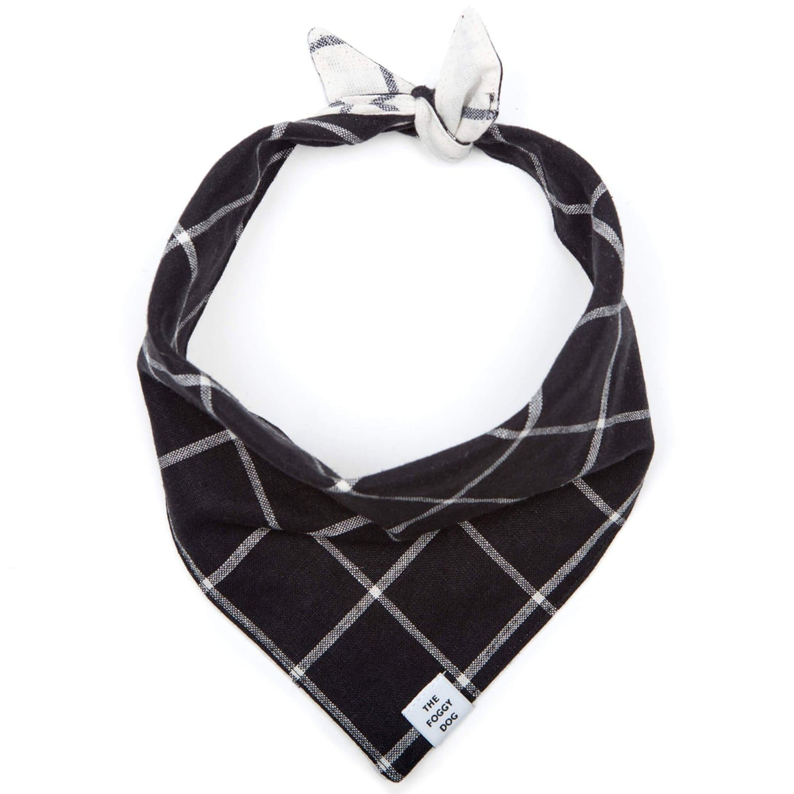 The Foggy Dog Pet Windowpane Check Black Dog Bandana (Reversible)
