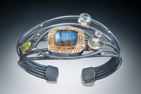 One of a Kind wire cuff with 18k and gemstones
